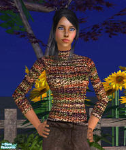 Sims 2 — Chenille Turtleneck in Earth Tones by RockinRobin — Stylish chenille turtleneck for your Sims ladies. Recolor of