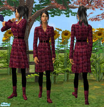 Sims 2 — Wool Coat Dress  by RockinRobin — Sexy and stylish wool coat dress with wide belt, black tights and flirty