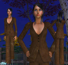 Sims 2 — Silky Crepe Pantsuit by RockinRobin — Stylish mocha colored silky pantsuit. *FIXED to work without Pets EP