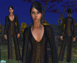Sims 2 — Sexy Pantsuit by RockinRobin — Sophisticated yet sexy pantsuit in navy, black, burgundy, and brown stripes.