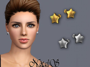 Sims 3 — NataliS TS3 Flat star stud earrings by Natalis —  Flat star stud earrings. FT-FA-FE