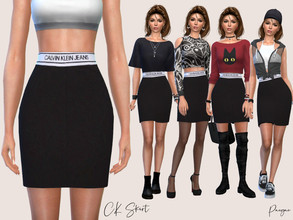 Sims 4 — cK Skirt by Paogae — Black skirt with white band at the waist, cK brand, it comes in a single color but allows