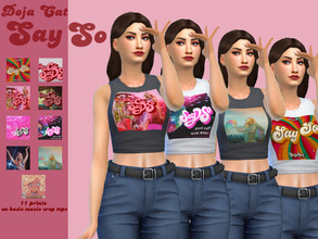 Sims 4 — Say So by Doja Cat&Nicki Minaj crop top -Discover University by wannaminaj — Basic Maxis crop tops with Say