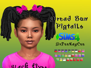 Sims 4 — Dreads with Buns Pigtails - Base Compatible by drteekaycee — So here's a twist on the Ponytail Dreads. This