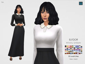 Sims 4 — Witchy School Uniform by Elfdor — - 55 swatches - teen to elder - everyday, formal, party - base game compatible