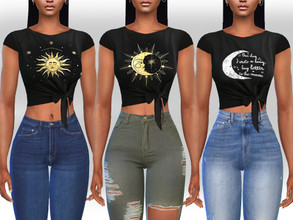 Sims 4 — Female Front Tied Moon Tops by saliwa — Female Front Tied Moon Tops