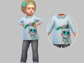 Sims 4 — Lilypad shirt - Eco  by TulipSniper — cute little lily pad shirt for toddlers.