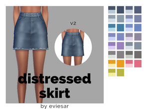 Sims 4 — Distressed Skirt by EvieSAR — This item has two versions, the distressed one and another non-distressed. -