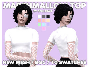 Sims 4 — Marshmallow Top by DollTraitCC — - Scratch-Made Mesh - Base Game-Compatible - All LODs - Custom Thumbnail - 10