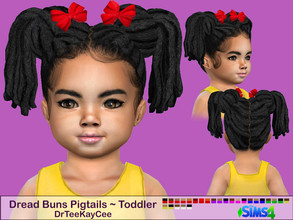 Sims 4 — Dread Buns Pigtails - Toddler by drteekaycee — Now your toddler sims can look just like her big sister with this