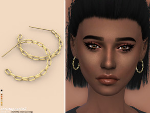 Sims 4 — Circle The Chain Earrings / Christopher067 by christopher0672 — These are a pair of big chain hoops. 8 Colors