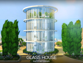 Sims 4 — Glass house by Summerr_Plays — A modern minimal glass home with 4 floors. Downstairs you have a modern white
