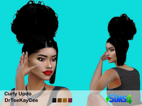 Sims 4 — Curly Updo by drteekaycee — This poofy curly updo is right on time for the summer heat! Comes in 4 colors and