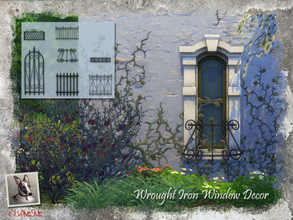 Sims 4 — Wrought Iron Window Decor by Cyclonesue — These 7 designs fit any 1-tile window. Some can be tiled to fit wider