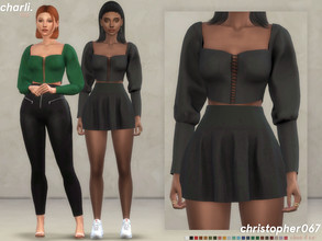 Sims 4 — Charli Top / Christopher067 by christopher0672 — This is a cropped puffed sleeve top with a middle laced up