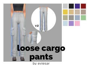 Sims 4 — Loose Cargo Pants by EvieSAR — - basegame - 15 swatches each - all maps - custom thumbnails - not allowed to