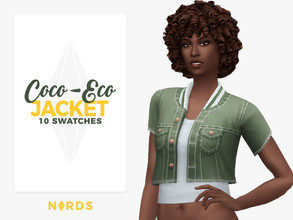 Sims 4 — Coco-Eco Jacket by Nords — Hey guys! Never let your sims throw their denim jackets, recycle them into this one,