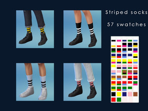 Sims 4 — Striped Socks [male and female] by aga_k3 — Half - calf striped socks for male and female base game 57 swatches