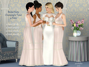 Sims 3 — Bridal Party Champagne Toast by jessesue2 — Bridal party, bride and her maids enjoying a toast together before