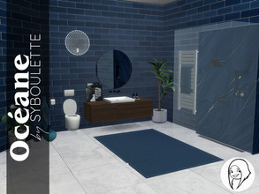 Sims 4 — Oceane Bathroom Set by Syboubou — Oceane is a bathroom with simple tiles and high end marble finishing touches.