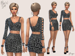 Sims 4 — B&W Set by Paogae — Top and skirt set, with modern black and white pattern, asymmetrical top. Standalone