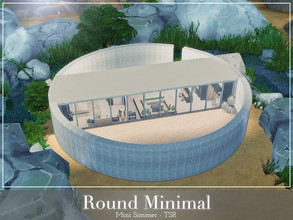 Sims 4 — Round Minimal  by Mini_Simmer — This is a small round house surrounded by large rocks and a natural pond. It is