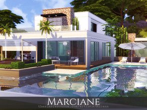 Sims 4 — Marciane by Rirann — Marciane is a contemporary house for a middle sim family. Fully furnished and decorated.