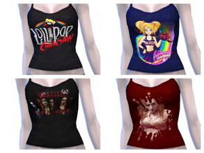 Sims 4 — tank top lollipop chainsaw and Vampire The Masquerade by minesims93 — recolors tank top EA mesh 4 designs teen