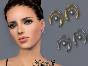 Sims 3 — NataliS TS3 Crescent moon pearl earrings by Natalis — Crescent moon pearl earrings. FT-FA-FE