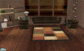 Sims 2 — Chocolate Sofa and Chair Set by RockinRobin — This is a recolor of Reflexsims Belvedere living room set.