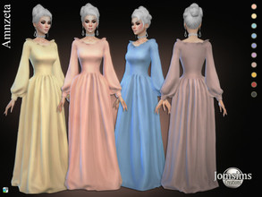 Sims 4 — Amnzeta dress by jomsims — Amnzeta dress Sims 4 for her Dress in 10 shades long dress with sleeves. Happy