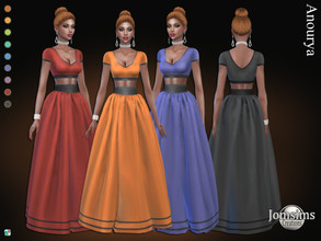 Sims 4 — Anourya dress by jomsims — Anourya dress Dress Sims 4 for her in 9 shades. long dress top and skirt . Happy