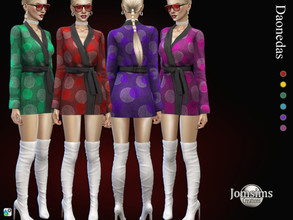 Sims 4 — Daonedas dress by jomsims — Daonedas dress Dress Sims 4 for her in 6 shades short dress with sleeves. close with