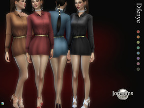 Sims 4 — Dfenye short dress by jomsims — Dfenye short dress Dress Sims 4 for her in 8 shades. little short-sleeved dress