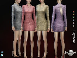 Sims 4 — Laystona dress by jomsims — Laystona dress Dress Sims 4 for her in 6 shades short dress with sleeves, large