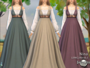 Sims 4 — Nina farmer long dress1 by jomsims — Nina farmer long dress1 FARMER THEME Dress Sims 4 for her in 5 shades long