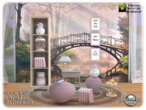 Sims 4 — Nae bedroom 1_2 by jomsims — Nae bedroom 1_2 The Nae bedroom suite table lamp. furniture dresser. wool puff.