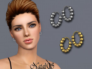 Sims 3 — NataliS TS3 Beaded mini hoops earrings by Natalis — Beaded mini hoops earrings. FT-FA-YA