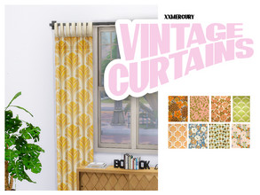 Sims 4 — Vintage Curtains by xxmercury — Vintage Inspired Curtains OBS - This download requires the Sims 4 Cats