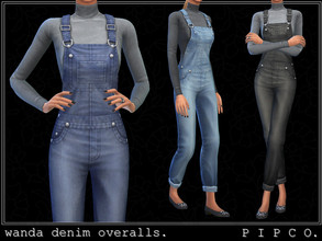 Sims 4 — pipco - wanda denim overalls. by Pipco — denim overalls with a turtleneck underneath.