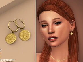 Sims 4 — Mint Earrings / Christopher067 by christopher0672 — A cute lil set of coins dangling from a small hoop. 8 Colors