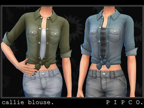 Sims 4 — pipco - callie blouse. by Pipco — a stylish denim top.