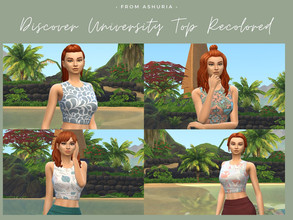 Sims 4 — Discover University Top - Recolor by Ashuria — Discover University Top with 8 swatches of different patterns.