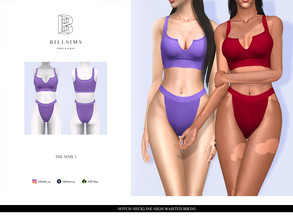 Sims 3 — Notch Neckline High Waisted Bikini by Bill_Sims — YA/AF Swimwear Available for Maternity Recolorable - 2