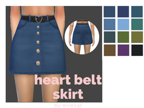 Sims 4 — Heart Belt Skirt by EvieSAR — basegame 12 swatches custom thumbnails all maps not allowed to random restrict