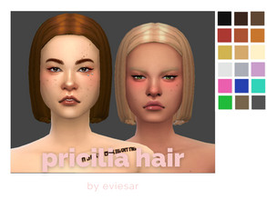 Sims 4 — Priclia Hair  by EvieSAR — basegame 18 ea swatches, custom thumbnail with strand acc and ombre acc for different