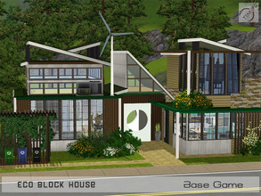 Sims 3 — Eco Block House by timi722 — House from recycled concrete panels and blocks. Home for a small family. Water tank