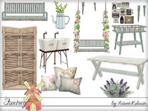 Sims 4 — Farmey 2 by ArwenKaboom — Second set for the themed weeks. This set contains: Loveseat with legs and vines for