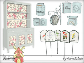 Sims 4 — Farmey by ArwenKaboom — First set for the themed weeks. This one contains: 5 different garden tags Cabinet 2