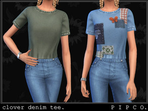 Sims 4 — pipco - clover denim tee. by Pipco — a cozy patched denim tee.